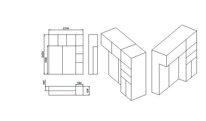 单体家具三视图;