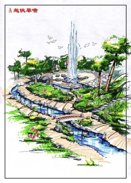 喷泉鸟瞰图手绘