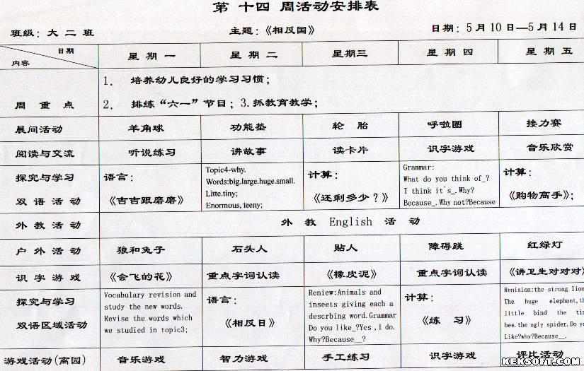 > 幼儿园第十四周活动安排表(内空)