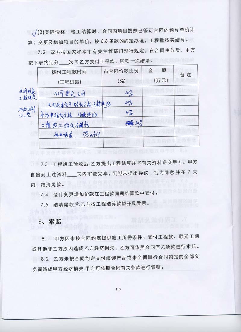 深圳市小型 装饰装修 工程 施工 合同 深圳房地产