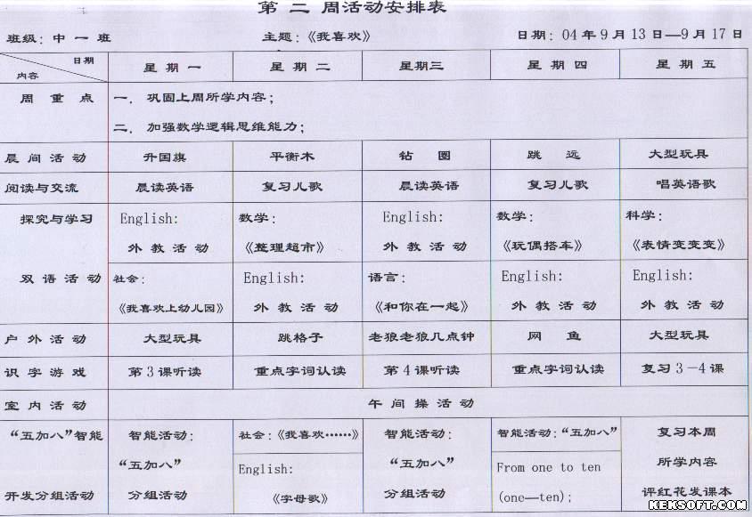 幼儿园第二周活动计划表