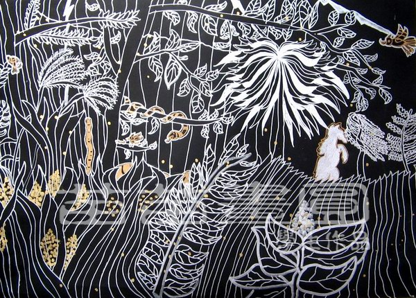 树叶中国梦主题绘画作品