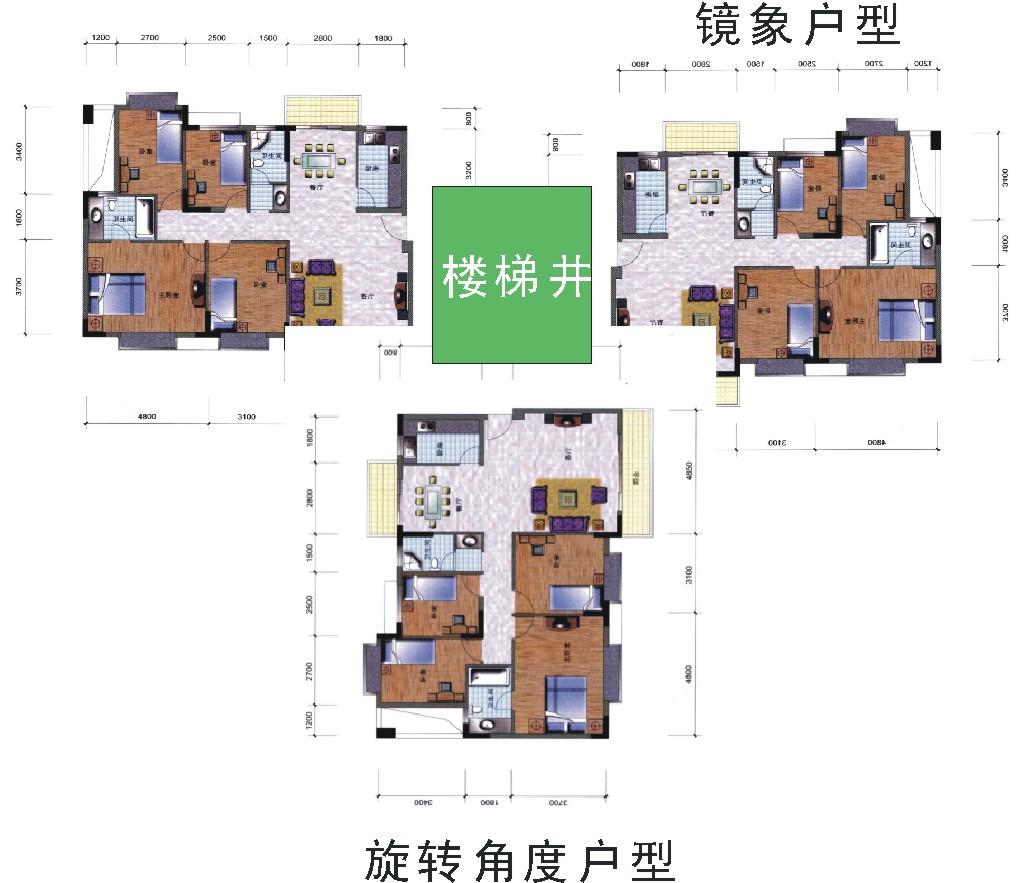 一层三户设计图