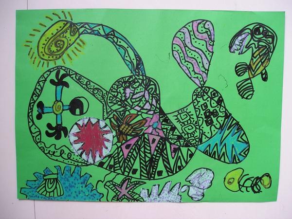 多姿多彩的儿童线条装饰画.