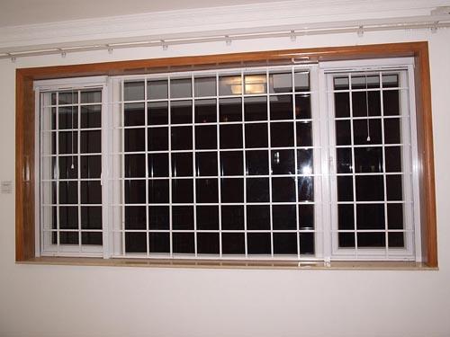 白色方格防盗网/防盗玻璃门/防蚊防盗复合窗/隐形
